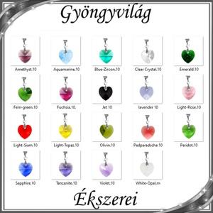 Ékszerek-medálok: Swarovski kristály medál -10mm-es szív több színben, Ékszer, Medál, Nyaklánc, Ékszerkészítés, Gyöngyfűzés, gyöngyhímzés, Meska
