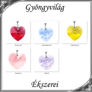 Swarovski kristály medál -28mm-es szív több színben , Ékszer, Medál, Nyaklánc, Ékszerkészítés, Gyöngyfűzés, gyöngyhímzés, Meska