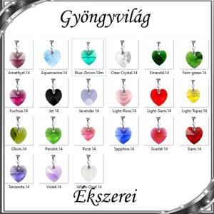Ékszerek-medálok: Swarovski kristály medál -14mm-es szív több színben, Ékszer, Medál, Nyaklánc, Ékszerkészítés, Gyöngyfűzés, gyöngyhímzés, Meska
