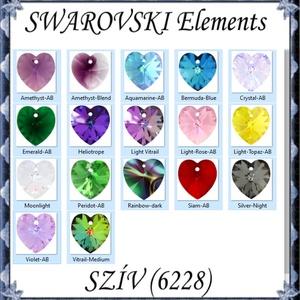 Swarovski kristály medál: SWM szív (6228) 18mm-es AB  több színben - Meska.hu