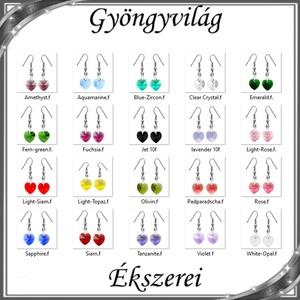 Ékszerek-fülbevalók: Swarovski kristály fülbevaló -10mm-es szív több színben, Ékszer, Lógó fülbevaló, Fülbevaló, Ékszerkészítés, Gyöngyfűzés, gyöngyhímzés, Meska