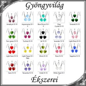 Ékszerek-szettek: Swarovski kristály fülbevaló-medál -10mm-es szív szett több színben - ékszer - ékszerszett - Meska.hu