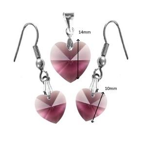 Ékszerek-szettek: Swarovski kristály fülbevaló-medál -10-14mm-es szív szett több színben - ékszer - ékszerszett - Meska.hu