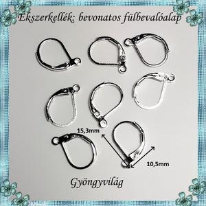Ezüstel bevont ékszerkellék: fülbevalóalap  E925-FK06 4pár/cs - gyöngy, ékszerkellék - egyéb alkatrész - Meska.hu