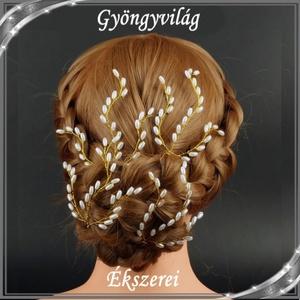 Ékszerek-hajdíszek, hajcsatok: Esküvői, menyasszonyi, alkalmi hajdísz S-H-TŰ14 a-t.fehér szett(4db), Esküvő, Hajdísz, Fésűs hajdísz, Ékszerkészítés, Meska