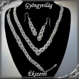 Esküvői, menyasszonyi, alkalmi ékszer szett, swarovszki kristály SSZE-SW03-1 5328, Esküvő, Ékszer, Ékszerkészítés, Gyöngyfűzés, gyöngyhímzés, Meska