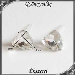 Kristály szív szilikon fülbevaló 8mm-es SFSZ-K02 - ékszer - fülbevaló - pötty fülbevaló - Meska.hu