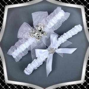 Esküvői, menyasszonyi harisnyakötő szett  ES-HK17, Esküvő, Kiegészítők, Harisnyatartó & Valami kék, Ékszerkészítés, Gyöngyfűzés, gyöngyhímzés, Meska
