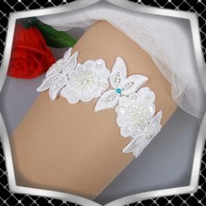 Esküvői, menyasszonyi harisnyakötő  ES-HK22, Esküvő, Kiegészítők, Harisnyatartó & Valami kék, Ékszerkészítés, Meska