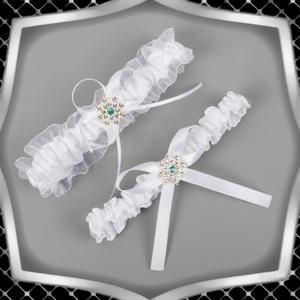 Esküvői, menyasszonyi harisnyakötő szett  ES-HK24 F, Esküvő, Kiegészítők, Harisnyatartó & Valami kék, Ékszerkészítés, Gyöngyfűzés, gyöngyhímzés, Meska