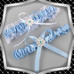 Esküvői, menyasszonyi harisnyakötő szett  ES-HK24 K, Esküvő, Kiegészítők, Harisnyatartó & Valami kék, Ékszerkészítés, Gyöngyfűzés, gyöngyhímzés, Meska