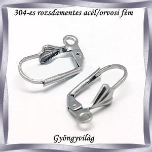 Nemes acél ékszerkellék: Francia/biztonsági kapcsos fülbevaló alap NAFK 11-1 2pár/cs - gyöngy, ékszerkellék - egyéb alkatrész - Meska.hu