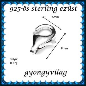 925-ös ezüst 1soros lánckapocs ELK 1s 39-8 2db/csomag - gyöngy, ékszerkellék - egyéb alkatrész - Meska.hu