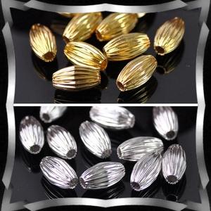 Ékszerkellék: gyöngy, fém gyöngy BGY F 01O 7X12 10db/csomag ezüst/arany - Meska.hu