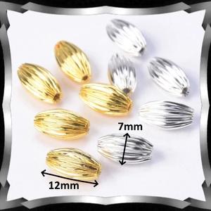 Ékszerkellék: gyöngy, fém gyöngy BGY F 01O 7X12 10db/csomag ezüst/arany - gyöngy, ékszerkellék - fém köztesek - Meska.hu