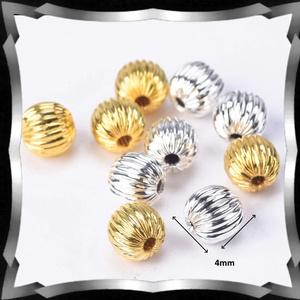 Ékszerkellék: gyöngy, fém gyöngy BGY F 01K 4X4 20db/csomag ezüst/arany - gyöngy, ékszerkellék - fém köztesek - Meska.hu