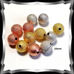 Ékszerkellék: gyöngy, fém gyöngy BGY F 02K 10X10 10db/csomag ezüst/arany - gyöngy, ékszerkellék - fém köztesek - Meska.hu