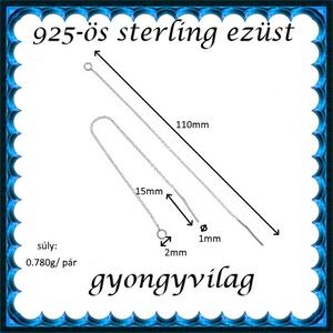 925-ös ezüst fülbevaló kapocs , füllánc EFK BFL 01-110e - gyöngy, ékszerkellék - egyéb alkatrész - Meska.hu