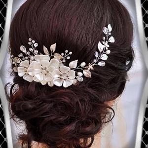 Ékszerek-hajdíszek, hajcsatok: Esküvői, menyasszonyi, alkalmi hajdísz ES-H-FÜ05, Esküvő, Hajdísz, Kontydísz & Hajdísz, Ékszerkészítés, Gyöngyfűzés, gyöngyhímzés, Meska