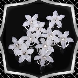 Ékszerek-hajdíszek, hajcsatok: Esküvői, menyasszonyi, alkalmi hajdísz ES-H-SP01-5 10db/csomag, Esküvő, Hajdísz, Kontydísz & Hajdísz, Ékszerkészítés, Gyöngyfűzés, gyöngyhímzés, *ES-H-SP01-5\n\nA hajdísz műgyanta virágból készült .\nA spirált be kel tekerni a hajba.\nNem esik ki, n..., Meska