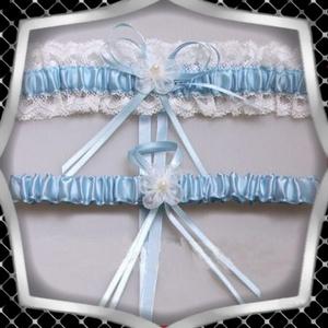 Esküvői, menyasszonyi harisnyakötő szett  ES-HK25-1K, Esküvő, Kiegészítők, Harisnyatartó & Valami kék, Ékszerkészítés, Gyöngyfűzés, gyöngyhímzés, Meska
