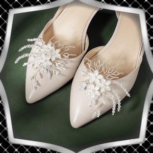Esküvői, menyasszonyi, alkalmi cipődísz, cipőklipsz ES-CK17, Esküvő, Cipő és Cipőklipsz, Ékszerkészítés, Gyöngyfűzés, gyöngyhímzés, Meska