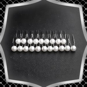 Ékszerek-hajdíszek, hajcsatok: Esküvői, menyasszonyi, alkalmi hajdísz ES-H-TŰ02-10 fehér 20db/csomag - esküvő - hajdísz - kontydísz & hajdísz - Meska.hu