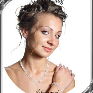 Esküvői, menyasszonyi, alkalmi ékszer szett, swarovszki kristály SSZE-SW04-1 5328, Esküvő, Ékszer, Ékszerkészítés, Gyöngyfűzés, gyöngyhímzés, Meska