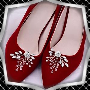 Esküvői, menyasszonyi, alkalmi cipődísz, cipőklipsz ES-CK21, Esküvő, Cipő és Cipőklipsz, Ékszerkészítés, Gyöngyfűzés, gyöngyhímzés, Meska