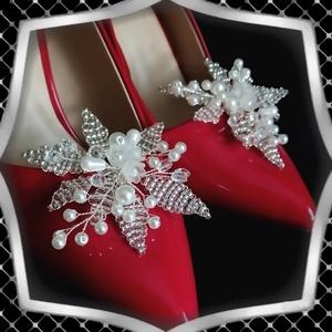 Esküvői, menyasszonyi, alkalmi cipődísz, cipőklipsz ES-CK19, Esküvő, Cipő és Cipőklipsz, Ékszerkészítés, Gyöngyfűzés, gyöngyhímzés, Meska