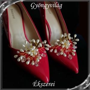 Esküvői, menyasszonyi, alkalmi cipődísz, cipőklipsz S-CK02-1 cream - esküvő - cipő és cipőklipsz - Meska.hu