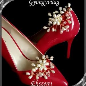 Esküvői, menyasszonyi, alkalmi cipődísz, cipőklipsz S-CK02-2 cream, Esküvő, Cipő és Cipőklipsz, Ékszerkészítés, Gyöngyfűzés, gyöngyhímzés, Meska