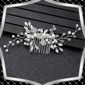 Ékszerek-hajdíszek, hajcsatok: Esküvői, menyasszonyi, alkalmi hajdísz ES-H-FÉ11e, Esküvő, Hajdísz, Fésűs hajdísz, Ékszerkészítés, Gyöngyfűzés, gyöngyhímzés, Meska
