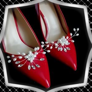 Esküvői, menyasszonyi, alkalmi cipődísz, cipőklipsz ES-CK23, Esküvő, Cipő és Cipőklipsz, Ékszerkészítés, Gyöngyfűzés, gyöngyhímzés, Meska