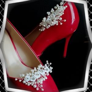 Esküvői, menyasszonyi, alkalmi cipődísz, cipőklipsz ES-CK15, Esküvő, Cipő és Cipőklipsz, Ékszerkészítés, Gyöngyfűzés, gyöngyhímzés, Meska