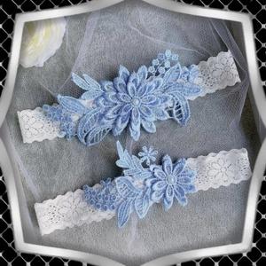 Esküvői, menyasszonyi harisnyakötő szett  ES-HK01-2 - esküvő - kiegészítők - harisnyatartó & valami kék - Meska.hu