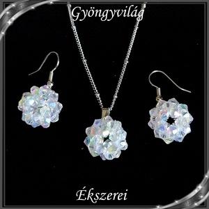 Ékszerek-szettek: kristály ékszer szett SSZNA-KGY01-01 crystal ab, Ékszer, Ékszerszett, Ékszerkészítés, Gyöngyfűzés, gyöngyhímzés, Meska
