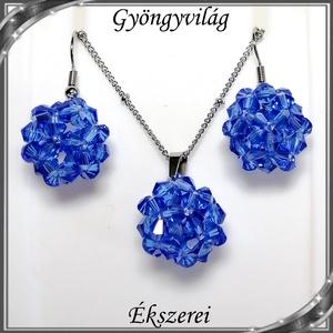Ékszerek-szettek: kristály ékszer szett SSZNA-KGY01-08 blue, Ékszer, Ékszerszett, Ékszerkészítés, Gyöngyfűzés, gyöngyhímzés, Meska