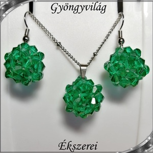 Ékszerek-szettek: kristály ékszer szett SSZNA-KGY01-10 malechit green, Ékszer, Ékszerszett, Ékszerkészítés, Gyöngyfűzés, gyöngyhímzés, Meska