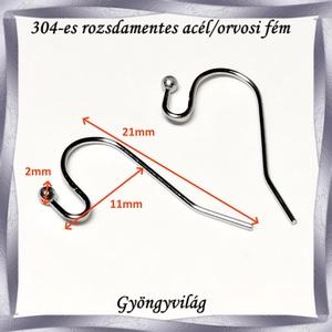 304 Nemes acél ékszerkellék: fülbevaló alap NAFK 15  5pár/cs - gyöngy, ékszerkellék - egyéb alkatrész - Meska.hu