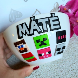 Minecraft müzlis tálka, Otthon & lakás, Konyhafelszerelés, Gyerek & játék, Gyurma, Minecraft figurákkal díszített müzlis tálka a játék igazi szerelmeseinek :), Meska