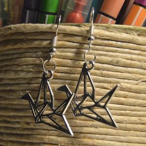 """Origami madár fülbevaló, Lógós fülbevaló, Fülbevaló, Ékszer, Ékszerkészítés, Egyedi, kézzel összerakott, origami madaras fülbevaló műanyag \""""stopperrel\"""" a hátulján.\nMérete: 6 cm\n..., Meska"""