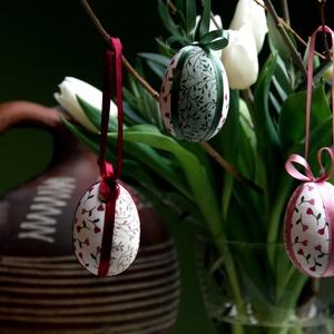 Patchwork-tojás (tarka), Otthon & lakás, Dekoráció, Ünnepi dekoráció, Húsvéti díszek, Visszafogott színvilágú húsvéti díszítőelemek elengedhetetlen darabja ez a 3 darabos tojás szett. Hu..., Meska