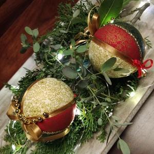 Rusztikus textil karácsonyfadísz, Karácsony & Mikulás, Karácsonyfadísz, Foltberakás, Szereted a hagyományos karácsonyi dekorációkat? Lecserélnéd a törékeny üveggömböket?Patchwork jelleg..., Meska