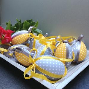 Húsvéti patchwork tojások (sárga-szürke), Otthon & Lakás, Dekoráció, Függődísz, Foltberakás, A tavaszi trendnek megfelelő színvilágú húsvéti díszítőelemek elengedhetetlen darabja ez a 3 darabos..., Meska