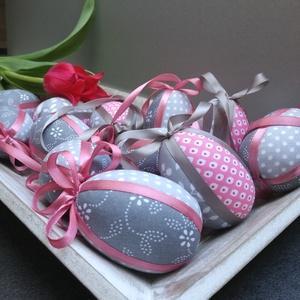 Húsvéti patchwork tojás (rózsaszín-szürke), Otthon & Lakás, Dekoráció, Függődísz, Foltberakás, Tavaszi trendnek megfelelő húsvéti díszítőelemek elengedhetetlen darabja ez a 3 darabos tojás szett...., Meska