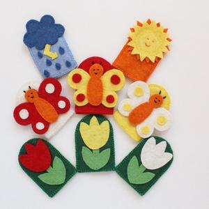 """""""A három pillangó"""" - 8 db-os filc ujjbáb készlet, Gyerek & játék, Játék, Báb, Készségfejlesztő játék, Gyerekszoba, Hímzés, Varrás, """"A három pillangó"""" - 8 db-os ujjbáb készlet, kiváló minőségű gyapjúfilcből.  Minőségi gyapjúfilc an..., Meska"""