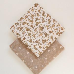 2 db textil szalvéta, 100% pamutvászon - világosbarna, drapp alapon fehér leveles kékfestő/világosbarna, bézs virágos, Otthon & Lakás, Konyhafelszerelés, Szalvéta, Varrás, Meska