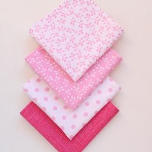 4 db textil szalvéta, 100% pamutvászon - romantikus, világos rózsaszín, sötét rózsaszín, pöttyös, leveles - otthon & lakás - konyhafelszerelés - szalvéta - Meska.hu