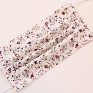 Arcmaszk, szájmaszk, mosható, vasalható, 2 rétegű, 100% pamutvászon, bordó kis virágos (haboskave) - Meska.hu
